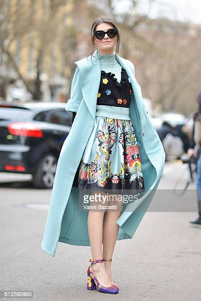 A guest poses wearing Isola Marras before the Fendi show during the Milan Fashion Week Fall/Winter 2016/17 on February 25 2016 in Milan Italy
