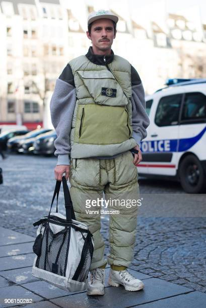 A guest poses wearing Stone Island after the Off White show at the Centre Pompidou during Paris Fashion Week Menswear FW 18/19 on January 17 2018 in...