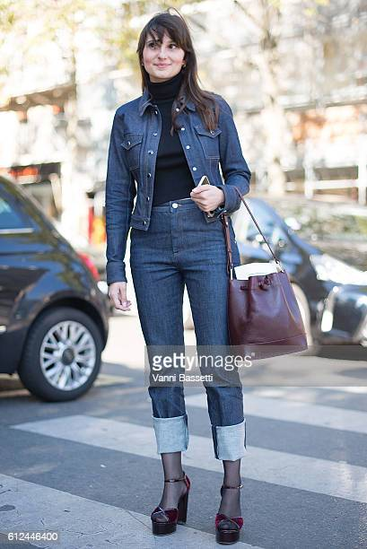 Guest poses wearing Vanessa Seward after the Vanessa Seward show at the Theatre du Chatelet during Paris Fashion Week SS17 on October 4, 2016 in...