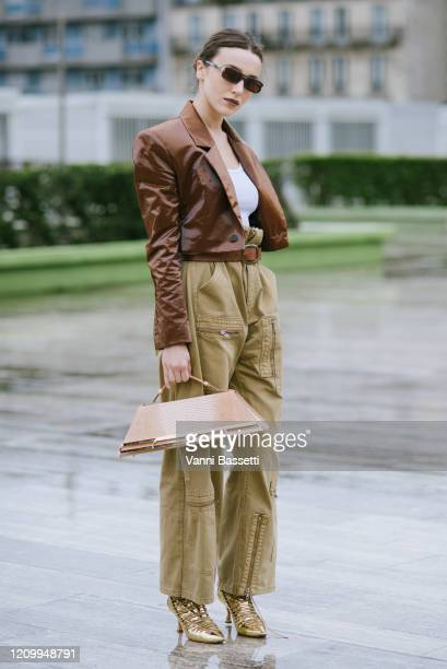 Guest poses wearing Y/Project after the Y/Project show during Paris Fashion Week Womenswear Fall/Winter 2020/2021 on March 02, 2020 in Paris, France.