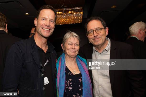Guest poses with sailor Tracy Edwards and Co-President and Co-Founder of Sony Pictures Classics Michael Barker at Morton's on September 8, 2018 in...