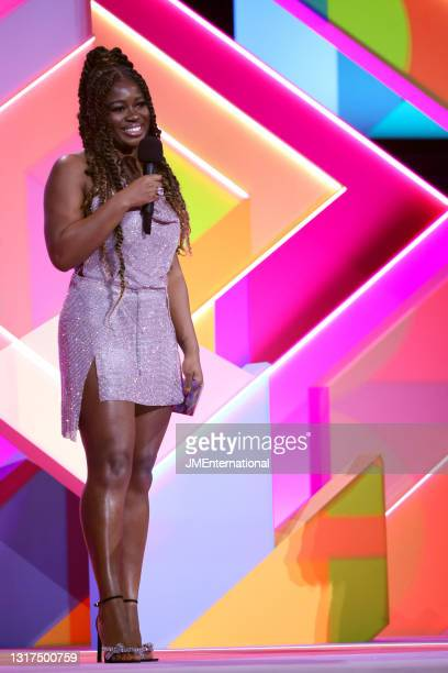 Guest presenter Clara Amfo on stage during The BRIT Awards 2021 at The O2 Arena on May 11, 2021 in London, England.
