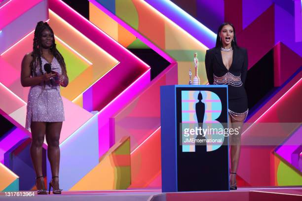Guest Presenters Clara Amfo and Maya Jama during The BRIT Awards 2021 at The O2 Arena on May 11, 2021 in London, England.