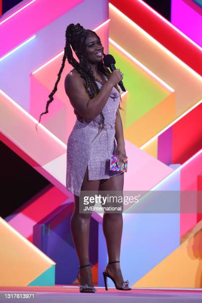 Guest Presenters Clara Amfo speaks on stage during The BRIT Awards 2021 at The O2 Arena on May 11, 2021 in London, England.