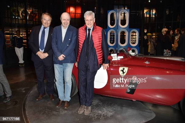 A guest Raffaele Jerusalmi and Alain Elkann attend Blair Thurman Nella Acqua Azzurra Opening an event by Garage Italia e Gagosian on April 16 2018 in...