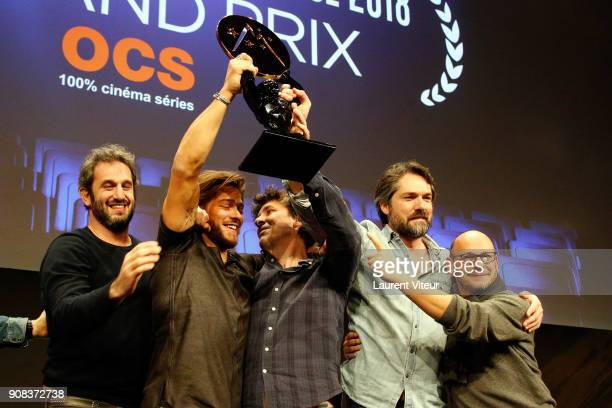 Guest Rayane Bensetti Director Robin Sykes and guets receive Jury Special Prize for 'La Finale' during Closing Ceremony during the 21st Alpe D'Huez...