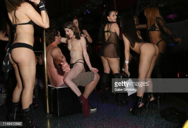 A guest receives a birthday dance during Larry Flynt's Hustler Club The Gamer Convention celebration at Larry Flynt's Hustler Club on April 26 2019...