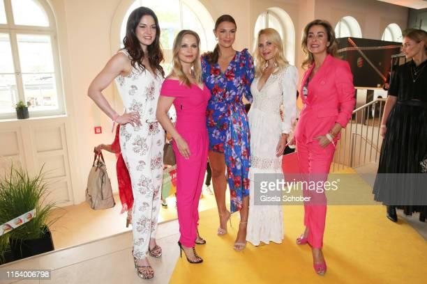 Guest Regina Halmich Laura Wontorra Sonja Kiefer and Bettina Cramer at the GJ e/MS Fashion Brunch during the Berlin Fashion Week Spring/Summer 2020...
