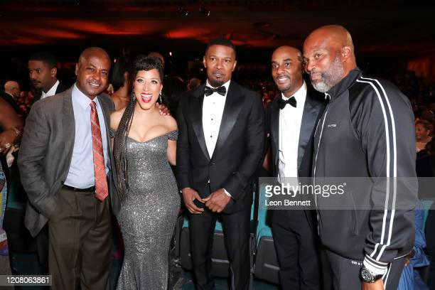 Guest Robin Thede Jamie Foxx guest and Chris Spencer attend the 51st NAACP Image Awards Presented by BET at Pasadena Civic Auditorium on February 22...