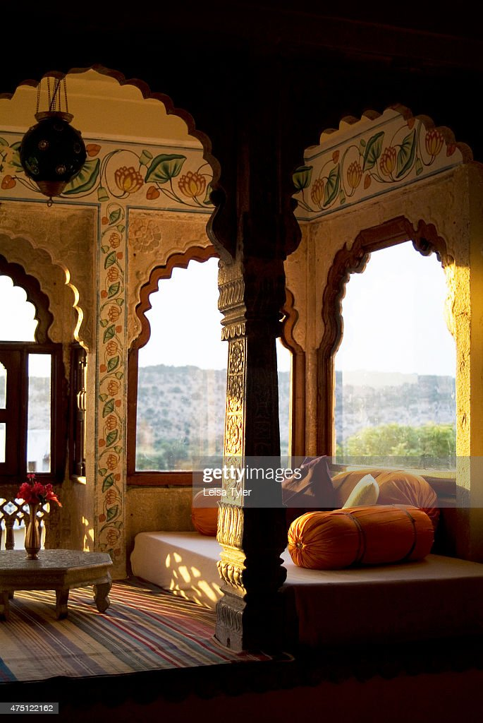 A guest room at Castle Bijaipur. Armed with his marble-white...