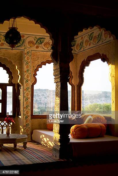 A guest room at Castle Bijaipur Armed with his marblewhite palace built in the 16th century Rao Saheb Narendra Singh was one of Rajasthan's first...