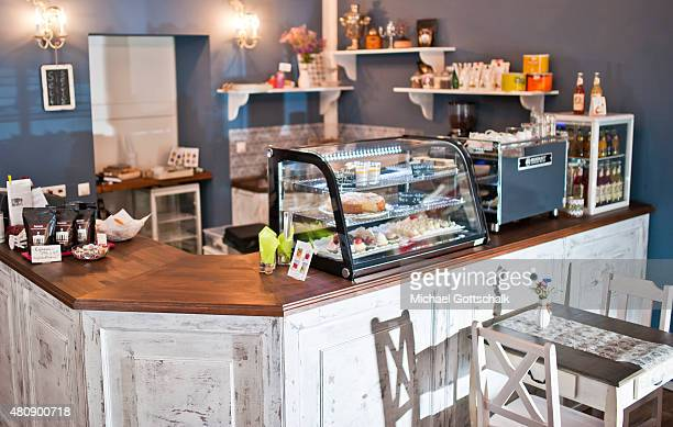 Guest room in a cafe with bar table and chairs on July 15 2015 in Berlin Germany