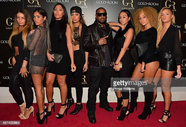 Guest Ruby Sayed Leena Sayed Kinky Michael 'Taz' Williams Cat AB and Ashley Martelle of the Group Taz's Angels attend the Gold Room on October 6 2014...