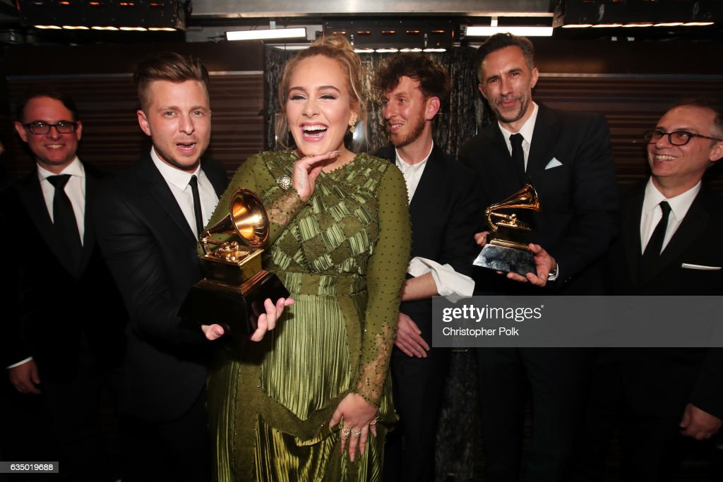 Guest, Ryan Tedder of OneRepublic, Adele, producer Ariel Rechtshaid, producer Samuel Dixon and Guest attend The 59th GRAMMY Awards at STAPLES Center on February 12, 2017 in Los Angeles, California.