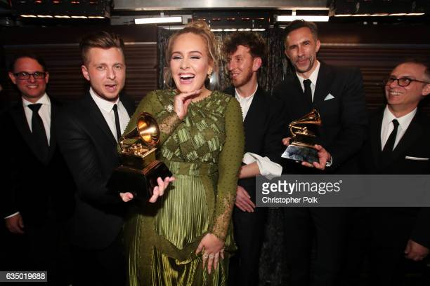 Guest, Ryan Tedder of OneRepublic, Adele, producer Ariel Rechtshaid, producer Samuel Dixon and Guest attend The 59th GRAMMY Awards at STAPLES Center...