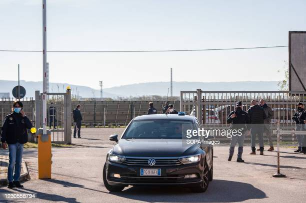 Guest seen arriving at the entrance of the site. Italian Minister of Justice Alfonso Bonafede and anti-mafia prosecutor Nicola Gratteri, together...