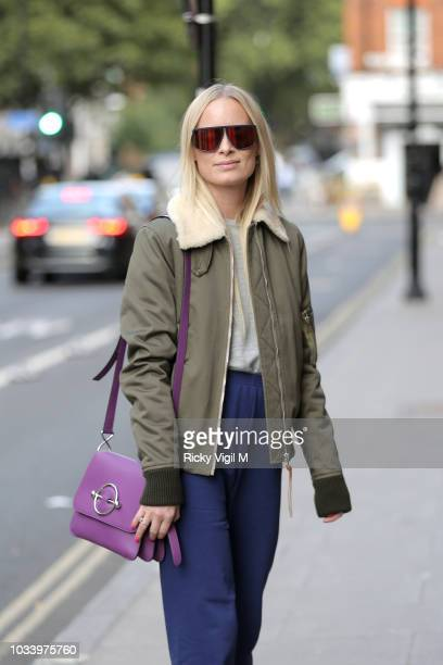 Guest seen attending s/s 2018 JW Anderson catwalk show during London Fashion Week September 2018 on September 15 2018 in London England