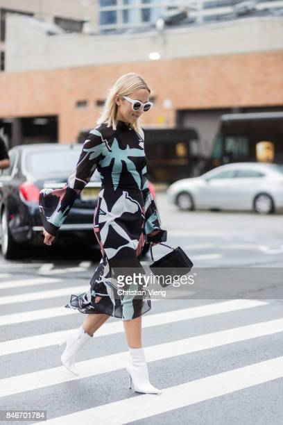 A guest seen in the streets of Manhattan outside Marchesa during New York Fashion Week on September 13 2017 in New York City