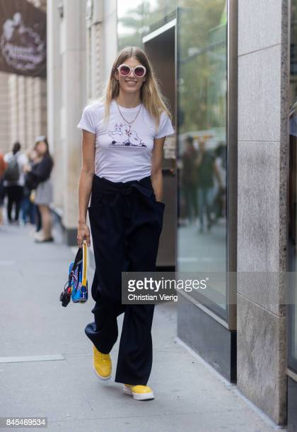 A guest seen in the streets of Manhattan outside Victoria Beckham during New York Fashion Week on September 10 2017 in New York City