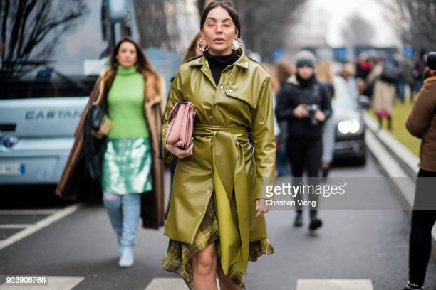 A guest seen outside Armani during Milan Fashion Week Fall/Winter 2018/19 on February 24 2018 in Milan Italy