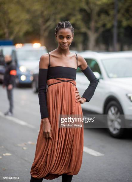 A guest seen outside Celine during Paris Fashion Week Spring/Summer 2018 on October 1 2017 in Paris France
