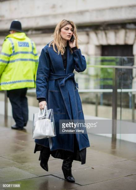 A guest seen outside Christopher Kane during London Fashion Week February 2018 on February 19 2018 in London England