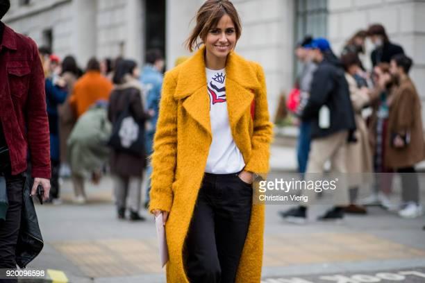A guest seen outside Delpozo during London Fashion Week February 2018 on February 18 2018 in London England