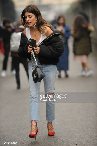 Guest seen outside during Diesel Black Gold Milan Fashion Week Autumn/Winter Day 3 - February 24th 2017: Diesel Black Gold in Milan, Italy