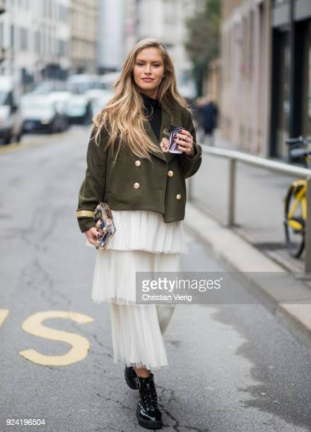 A guest seen outside Ermanno Scervino during Milan Fashion Week Fall/Winter 2018/19 on February 24 2018 in Milan Italy