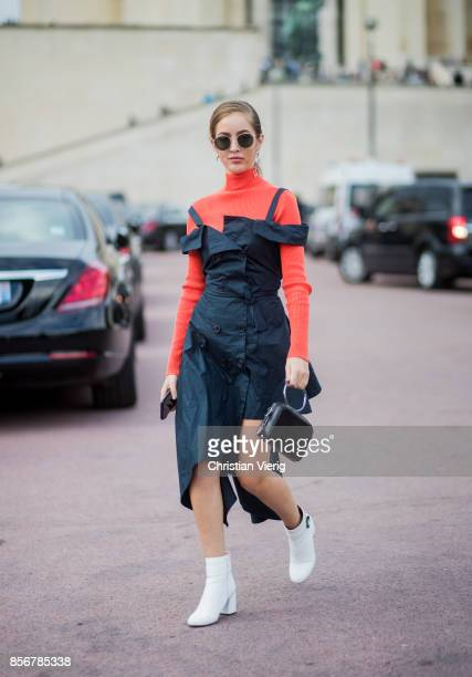 A guest seen outside Hermes during Paris Fashion Week Spring/Summer 2018 on October 2 2017 in Paris France