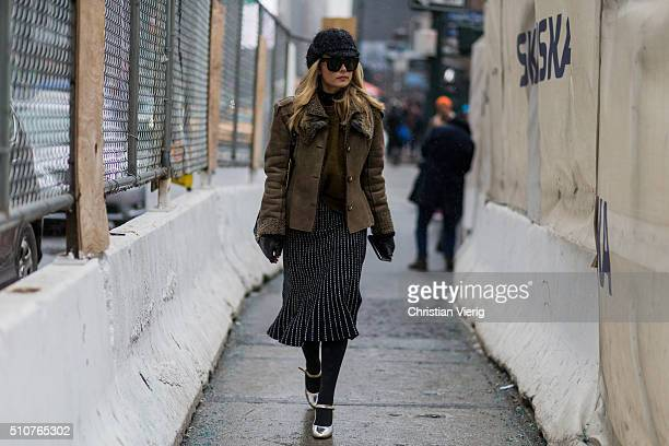 A guest seen outside Jeremy Scott during New York Fashion Week Women's Fall/Winter 2016 on February 15 2016 in New York City