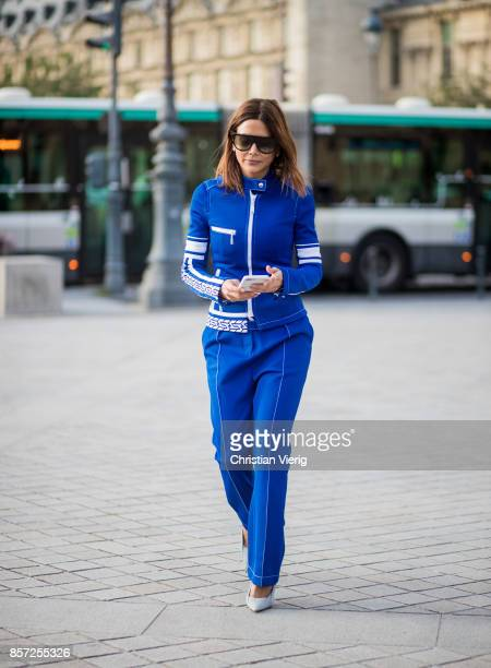 A guest seen outside Louis Vuitton during Paris Fashion Week Spring/Summer 2018 on October 3 2017 in Paris France