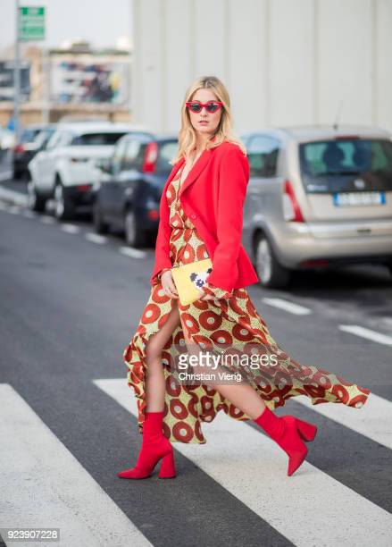 A guest seen outside Missoni during Milan Fashion Week Fall/Winter 2018/19 on February 24 2018 in Milan Italy