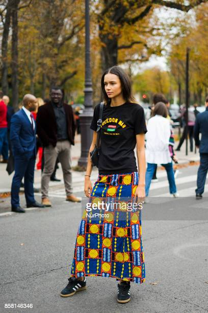 A guest seen outside Sacai during Paris Fashion Week Spring/Summer 2018 on October 2 2017 in Paris France