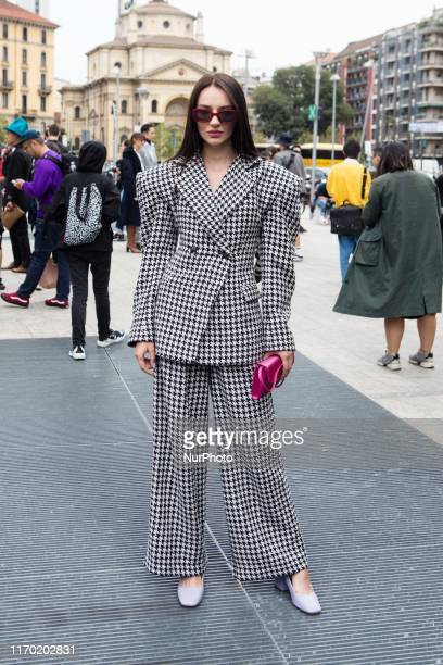 Guest seen outside the Sportmax show during Milan Fashion Week Spring/Summer 2020 on September 20 2019 in Milan Italy