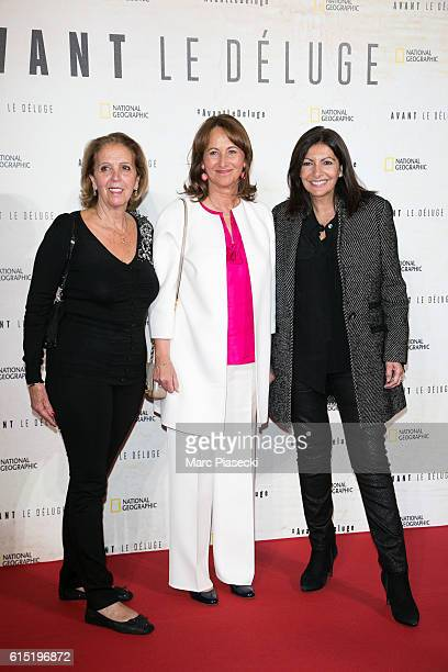 A guest Segolene Royal and Mayor of the city of Paris Anne Hidalgo attend the 'Before the Flood Avant le Deluge' Premiere at Theatre du Chatelet on...