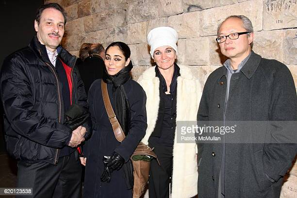 Guest Shirin Neshat Siba Shakib and Mel Chin attend Opening Reception of Michal Rovner MAKOM II at Pace Wildenstein on February 12 2008 in New York...