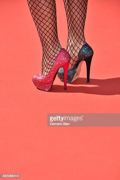 A guest shoe detail arrives for the Ma'Rosa premiere during the 69th Annual Cannes Film Festival at the Palais des Festivals on May 18 2016 in Cannes...