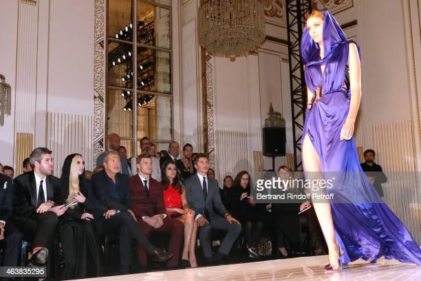 Guest Singer Lady Gaga Mario Testino singer Alan Ritchson Karine Ferri and actor Nolan Gerard Funk attend the Atelier Versace show as part of Paris...