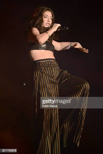 Guest singer Lorde performs onstage during the Disclosure show during day 2 of the 2016 Coachella Valley Music Arts Festival Weekend 1 at the Empire...