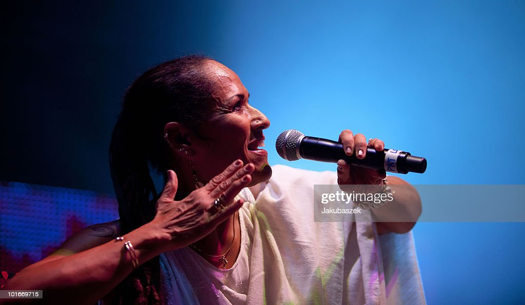 Guest singer Sista Pat of the American band Thievery Corporation performs live at the Huxleys Neue Welt on June 6, 2010 in Berlin, Germany.