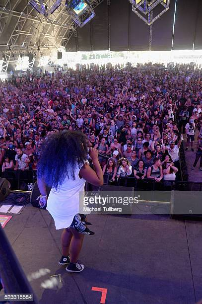 Guest singer UNIIQU3 performs with Nina Las Vegas onstage during day 1 of the 2016 Coachella Valley Music Arts Festival Weekend 2 at the Empire Polo...