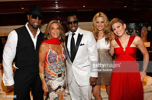 Guest songwriter Denise Rich recording artist Sean 'P Diddy' Combs model Petra Nemcova and Hofit Golan attend the Denise Rich Yacht Party at the MY...