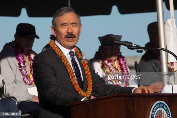 Guest speaker US Ambassador Harry Harris speaks as Pearl Harbor Commemorates the 78th Anniversary Of World War II Attacks as Pearl Harbor...