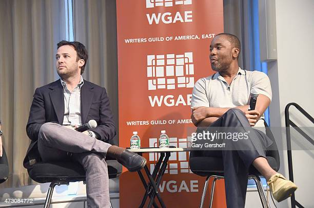 Guest speakers Danny Strong and Lee Daniels attend Writers Guild of America East In Conversation With Empire at The New School on May 12 2015 in New...