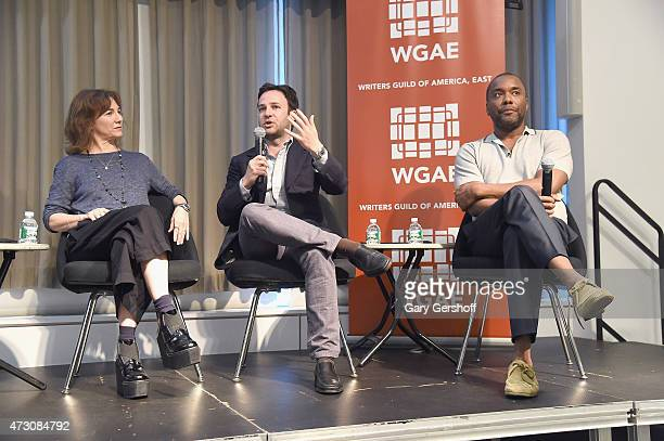 Guest speakers Ilene Chaiken Danny Strong and Lee Daniels attend Writers Guild of America East In Conversation With Empire at The New School on May...