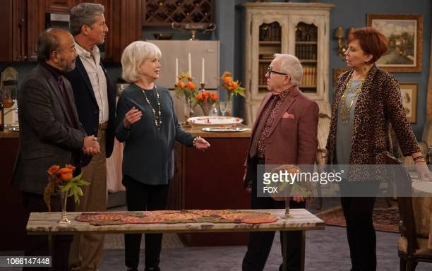 """Guest star Clyde Kusatsu, guest star Charles Shaughnessy, guest star Julia Duffy, Leslie Jordan and Vicki Lawrence in the """"Thanksgiving at Murray's""""..."""