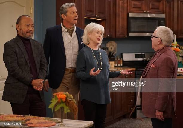 """Guest star Clyde Kusatsu, guest star Charles Shaughnessy, guest star Julia Duffy and Leslie Jordan in the """"Thanksgiving at Murray's"""" episode of THE..."""
