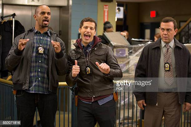 Guest star Damon Wayans Jr Andy Samberg and Joe Lo Truglio in the 'The 98' episode of BROOKLYN NINENINE airing Tuesday Feb 9 on FOX
