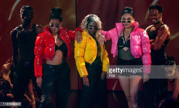 Guest star Keke Palmer Ryan Destiny and Brittany O'Grady in the Amazing Grace episode of STAR airing Wednesday April 10 on FOX